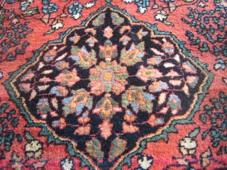 Antique Fereghan Sarouk with two different types of genies? In great original condition. This flying Persian carpet measures 1'9'' x 2'6''.
