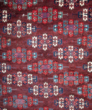 Turkmen Yomud Kepse Gul Main Rug  with some moth damage but  great color and lovely details 175 x 273 cm / 5'8'' x 8'11''