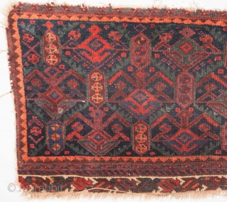 Persian Possibly a fragment of a bag with great colours needing a bath  40 x 95 cm / 15 x 37 inches