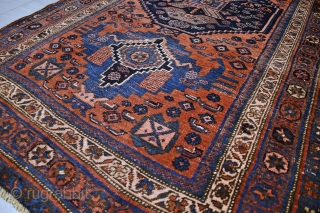 Antique Bidjar Bijar rug. Late 19 th century. Good condition for it's age, low pile and visible wear. Wool on cotton. Size approx. 232 x 125 cm / 7.6 x 4.2 ft.