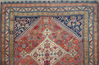 Charming antique Persian Qashqai 214x129cm. Circa 1900. It feels quite supple.  The pile is soft and uniformly low. An excellent piece for a collector.  https://sharafiandco.com/product/antique-qashqai-rug-214x129cm/