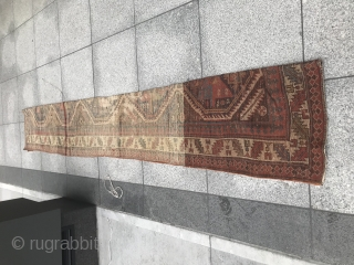 Northwest Persian or Shahsavan weaving with variable wefting.  As found.