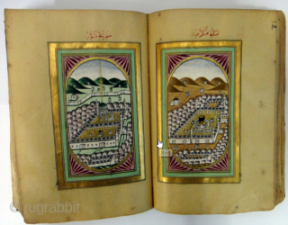 A Beautiful rare Ottoman Dalail Khairat Book , The First two pages completely with gold-water. Arabic manuscript on paper, 260 leaves plus 4 flyleaves, 9 lines to the page, naskh script written  ...