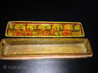 A POLYCHROME LACQUER PAPIER MÂCHÉ PEN CASE (QALAMDAN) QAJAR IRAN, 19TH CENTURY