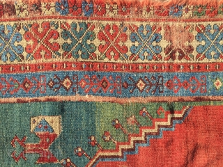 18th (+-) century Prayer Rug from central anatolia ritch saturated colours , a green it's not easy to find.That Rug i found in Transylvania arround 1970 Details: red weft ; no restoration  ...