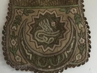 Late Ottoman pouch Kese,1890-1913, Edirne,Metal and silk embroidery on linen size 24 cm x 18,5 cm ,very good condition