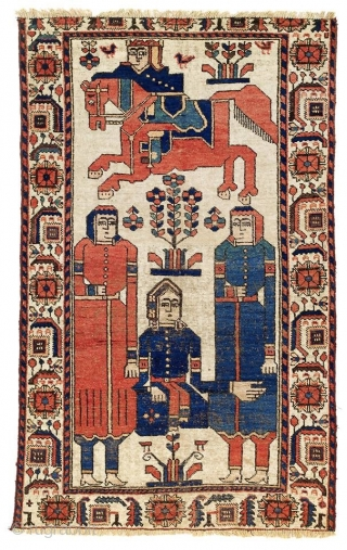 Rare Ferdows Baluch Zabolistan with pictorial design mid 19th century  Khosrow and Shirin inspired by the classic poetry from Neẓāmī-ye Ganǧawī ; Abū l-Qāsem-e Ferdous *last picture is the reference sold at  ...