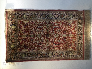 Collectible Hereke Silk Metal thread Rug second Half 20th Century West Anatolia good condition 