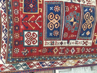 Antique cassette kazak 1860 century borchalo Georgian Rug size 184cm x 134 cm  Natural dyes well saturated tomato red ground color ,happy holidays ,please ask