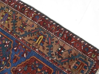 """Antique 5' 7"""" x 9' 5"""" Bakhtiari on wool foundation; areas of wear              Includes shipping       ..."""