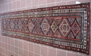 """Antique 2' 10"""" x 13' 10"""" Kurd.  Lays straight; In low to medium pile condition, with the original end webbings having been sewn underneath. Two very small replied areas on one  ..."""