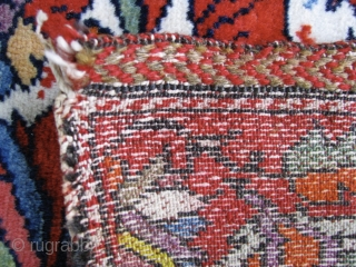 """Doppelgänger Galloping Gazelles 3' 1"""" x 4' 5"""" West Persian Village Rug.  Single white cotton wefting is intertwined with brown or red wool strands.  The red . . . and  ..."""