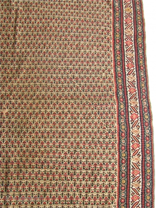 "Antique 4' 5"" x 6' 7"" Senneh Kilim with one small hole.  Free Ship/U.S.  3 Day returns.  Sorry, no direct overseas shipping."