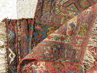 A pair of antique Persian Kurd Soumac Bagfaces.  In excellent condition and with great dyes.  Reds are vegetal and not harsh, as they appear in the original photos, taken in direct  ...