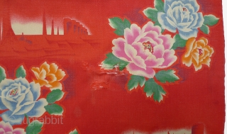 """Chinese Cultural Revolution length of cloth. c. 1969. Propaganda pattern with vignettes of trains and futuristic-looking factories. 74"""" x 30.5"""" silk-screened cotton.  Four holes where warp threads are missing (12"""" up  ..."""
