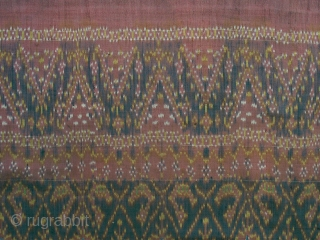 Early 20thc. Cambodian skirtcloth of very fine silk; note the two different, very detailed borders; mellow natural colors; condition very good; color is more uniform than in overall photo. (For more fine  ...