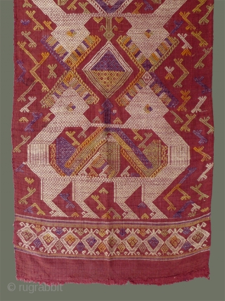 Woven Silk Panel from Laos - We're not exactly sure what this lovely silk panel was intended for: similar to door curtains we've had in cotton, this one is unusual in that  ...