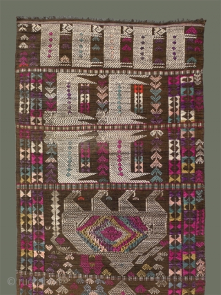 Door Curtain From Laos - Beautifully colored, older woven panel was made to cover a doorway. The cotton background of the main body appears to have been dyed with ebony and is  ...