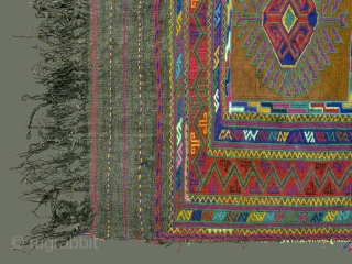 Afghani Eating Cloth ('Dasterkhan')  Not often found, this type of eating cloth is from northwest Afghanistan. Painstakingly embroidered in wool on a plainweave natural wool background, it is quite elaborate in pattern and  ...