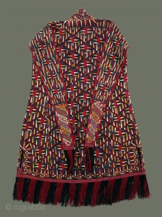 Turkoman (Tekke) Chyrpy-  Designed to be worn on the head, it has vestigial sleeves on the back, and is technically a headcovering, not a robe. The background of dark indigo silk indicates it  ...