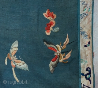 Antique Large Hand Embroidered Chinese silk shawl panel All over pattern of multiple assorted butterflies...wedgewood blue silk crape fabric surrounded with embroidered border...entire piece is lined with red cotton fabric...  measures roughly 27  ...