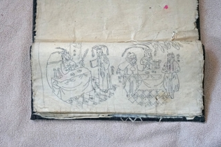 Chinese Qing Dynasty Woman's textile embroidery stencil storage case. Not many of these have survived... Indigo dyed, what is left of original frog tie, and 3 embroidery stencils. Closed it measures roughly 12 inches   ...