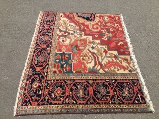 Heriz Fragment - attractive colors - a few stains - good wool - around 1900 Size: approx. 150 cm x 185 cm - washed some months ago - signs of use