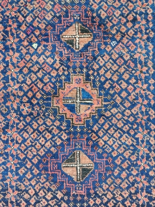 Arab Baluch, asymmetric open right, very soft wool / handling, both lower sides repaired, some little moth damages, 150 x 93 cm