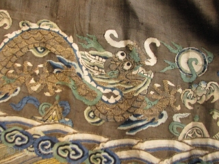 "Silk Kesi Chao Fu' skirt fragment.  26"" at the waist, 44"" at the hem, 33"" long.  Trimmed at the top and Velcro added to make it wearable I suppose.   ..."