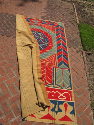 Huge inscribed antique Ottoman Egyptian tapestry appliqué panel. Approx  6ft x 10 ft
