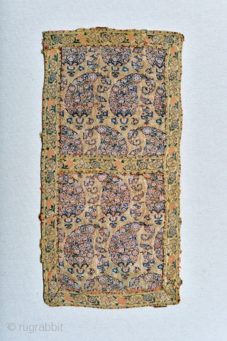 16th Century Safavid Silk Lampas panel with lavish gold thread.  Good condition. Museum piece. Some red thread remains on the edges from a previous mount and I did not remove it.