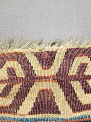 Early Anatolian Kilim with full color spectrum. Old repairs.