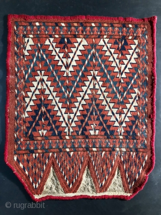 19th century Yomud or Yomut Turkmen Chuval Ok Bash or Uuk Bash. 