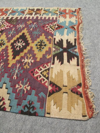 Antique Anatolian Konya? kilim runner. Paper-thin and very fine. Excellent natural colors.