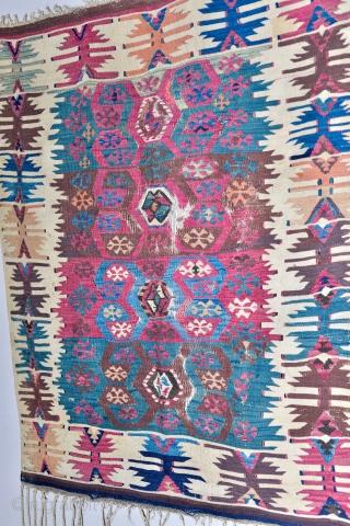 Small Early Anatolian Armenian Kilim. 39 x 45 inches. As found.
