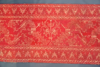 18th Century Moroccan Arab or Sephardi Azemmour embroidery tapestry. 8ft long -- 15 x 95 inches. Silk on linen. Backed with fabric. Some old repairs. For a small fragment reference of a similar  ...