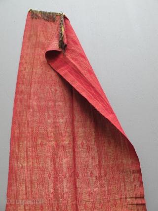 Antique Indonesian Gold Kain Limar Selandang Songket shawl. 20 x 77 inches