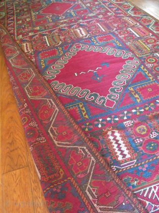 """Full color spectrum, 1800s dated Moroccan Palace rug. Possibly unique. I could not find anything like it in the literature and would appreciate feedback from viewers. It measures 15'6"""" x 6'3."""
