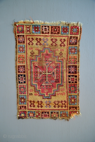 Very early Anatolian Armenian Yastik with fabulous colors.