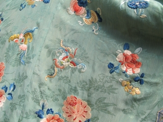 A finely embroidered XIXth C. Chinese green silk robe.