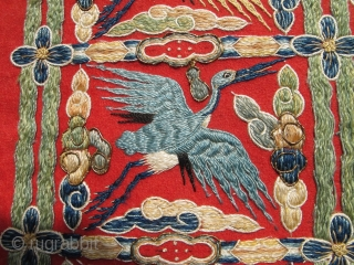 chinese or tibetan stork crane tapestry embroidery 25 x 10 inches