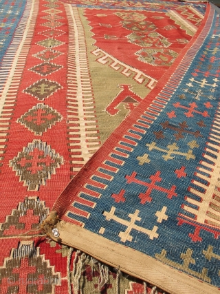 1850 LARGE CAUCASIAN OR ANATOLIAN ARMENIAN PRAYER or ALTAR KILIM RUG. I prefer to refer to this design as 'altar' instead of 'prayer' because such rugs were more likely used to hang as  ...
