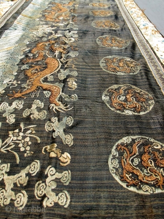 large early chinese dragon embroidery textile. 24 x 60 inches