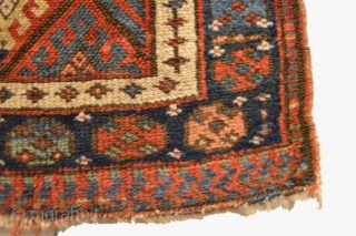 "Antique Jaf Kurd Bag Face. Late 19th Century. Great condition considering age with slight loss to both top and bottom. Moderate pile height with floppy handle. 8 colors. 1'9"" x 1'10"". Delicately  ..."