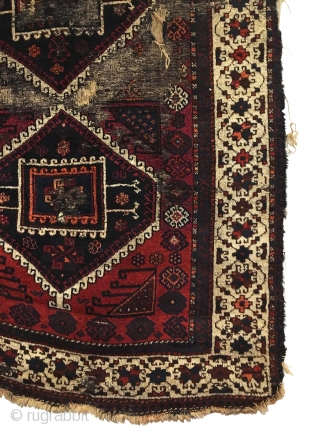 Antique Turkish Gaziantep Rug. 2nd Half 19th Century. Three archaic ivory outlined hexagonal medallions float on deep cochineal field. Framed by gorgeous ivory floral border and saturated colors throughout. Soft, lustrous wool  ...