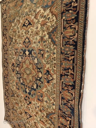 Antique Ferahan Sarouk Rug. Circa 1880. Short velvety pile and fineness of weave are hallmarks of this Persian Rug woven in the Ferahan Plain. 6 eight sided medallions radiate outward onto a  ...