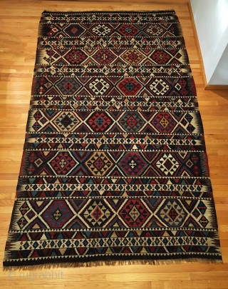 """Antique Shirvan Kilim. Last quarter 19th Century. Extremely fine weave. Leathery handle. 5'7"""" x 9'6"""". 10 colors. Carefully washed clean. Ready for the floor or as wall hanging kilim art."""