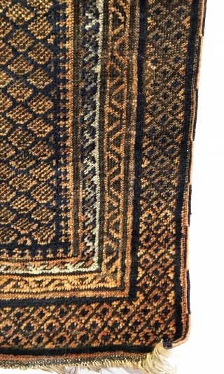 "Antique Dokhtar-I-Ghazi Baluch Prayer Rug. Timuri Sub-tribe. Excellent condition considering age with two invisible repairs as shown. Original selvages. 4 colors. 2'7"" x 4""1. Carefully hand washed."