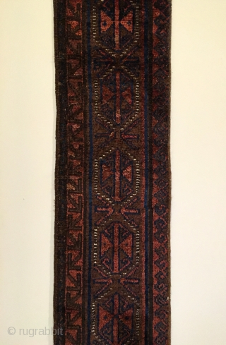 Antique 'Khan' Carpet Border Fragment. S.W. Afghanistan. Chakhansur. Late 19th Century. We can only imagine what the full carpet looked like. This complete main border fragment, end to end, now represents it.  ...