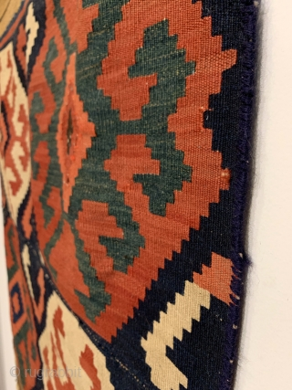 """Antique Caucasian Kilim Fragment. 2nd Half 19th Century. Soft dungaree handle. Early addition to top and bottom. 5 colors. Strong green. 3'10"""" x 3'0"""". Professionally hand washed."""